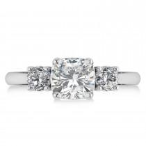 Cushion & Round 3-Stone Moissanite & Diamond Engagement Ring 14k White Gold (2.50ct)