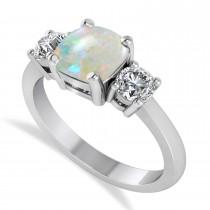 Cushion & Round 3-Stone Opal & Diamond Engagement Ring 14k White Gold (2.50ct)