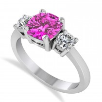 Cushion & Round 3-Stone Pink Topaz & Diamond Engagement Ring 14k White Gold (2.50ct)