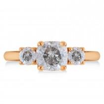 Cushion & Round 3-Stone Salt & Pepper Diamond Engagement Ring 14k Rose Gold (2.50ct)