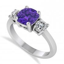 Cushion & Round 3-Stone Tanzanite & Diamond Engagement Ring 14k White Gold (2.50ct)