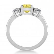Cushion & Round 3-Stone Yellow & White Diamond Engagement Ring 14k White Gold (2.50ct)