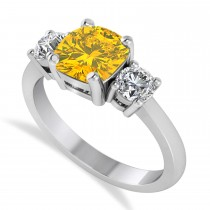 Cushion & Round 3-Stone Yellow Sapphire & Diamond Engagement Ring 14k White Gold (2.50ct)
