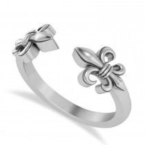 Fleur De Lis Open Concept Ring/Wedding Band 14k White Gold