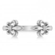 Fleur De Lis Open Concept Ring/Wedding Band 14k White Gold