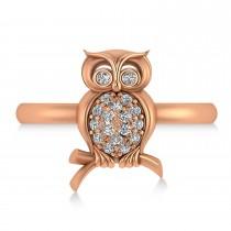 Diamond Owl Ring 14k Rose Gold (0.18ct)