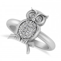 Diamond Owl Ring 14k White Gold (0.18ct)