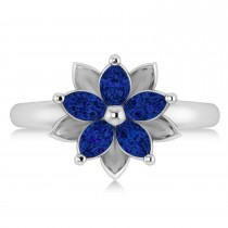 Blue Sapphire 5-Petal Flower Fashion Ring 14k White Gold (1.20ct)