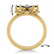 Blue Sapphire 5-Petal Flower Fashion Ring 14k Yellow Gold (1.20ct)