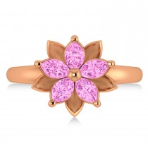 Pink Sapphire 5-Petal Flower Fashion Ring 14k Rose Gold (1.20ct)