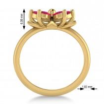 Ruby 5-Petal Flower Fashion Ring 14k Yellow Gold (1.20ct)