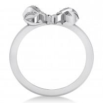 Diamond Ribbon Bow Ring/Wedding Band 14k White Gold (0.23ct)