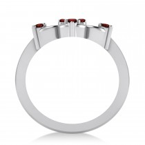 Garnet Six-Petal Flower Ring/Wedding Band 14k White Gold (0.26ct)
