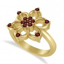 Garnet Six-Petal Flower Ring/Wedding Band 14k Yellow Gold (0.26ct)