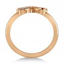 Diamond Three Leafed Clover Ring 14k Rose Gold (0.08ct)
