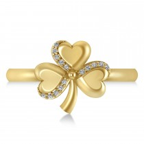 Diamond Three Leafed Clover Ring 14k Yellow Gold (0.08ct)