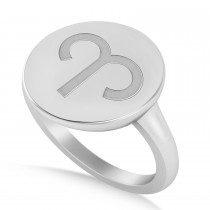 Aries Disk Zodiac Ring 14k White Gold