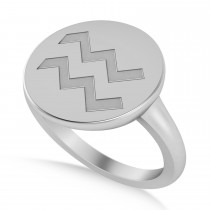 Aquarius Disk Zodiac Ring 14k White Gold