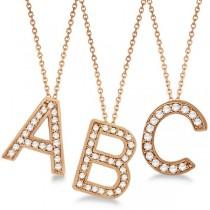 Custom Tilted Diamond Block Letter Initial Necklace in 14k Rose Gold