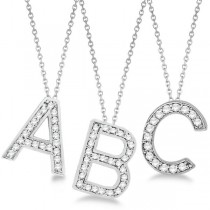 Custom Tilted Diamond Block Letter Initial Necklace in 14k White Gold