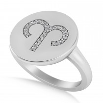 Diamond Aries Zodiac Disk Ring 14k White Gold (0.095ct)
