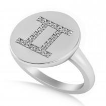 Diamond Gemini Zodiac Disk Ring 14k White Gold (0.11ct)