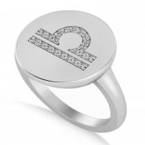 Diamond Libra Zodiac Disk Ring 14k White Gold (0.105ct)