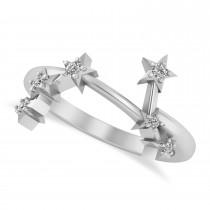 Diamond Aries Zodiac Constellation Star Ring 14k White Gold (0.09ct)