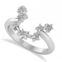 Diamond Aquarius Zodiac Constellation Star Ring 14k White Gold (0.09ct)