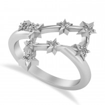 Diamond Gemini Zodiac Constellation Star Ring 14k White Gold (0.12ct)