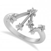 Diamond Libra Zodiac Constellation Star Ring 14k White Gold (0.08ct)
