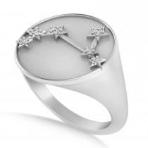 Diamond Aries Zodiac Constellation Disk Ring 14k White Gold (0.045ct)