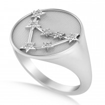 Diamond Capricorn Zodiac Constellation Disk Ring 14k White Gold (0.055ct)