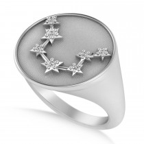 Diamond Aquarius Zodiac Constellation Disk Ring 14k White Gold (0.045ct)