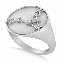 Diamond Pisces Zodiac Constellation Disk Ring 14k White Gold (0.05 ct)