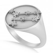 Diamond Gemini Zodiac Constellation Disk Ring 14k White Gold (0.06ct)