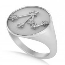 Diamond Libra Zodiac Constellation Disk Ring 14k White Gold (0.04ct)