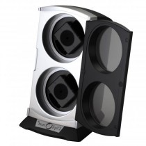 Vertical Double Watch Winder in Black and Silver