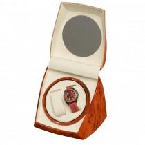 Dual Watch Winder in Burl Wood w/ Circular Glass Top