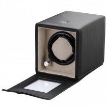Black Leatherette Single Watch Winder w/ Clear Display