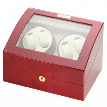 Quad Watch Winder & Watch Box in Cherry Wood w/ Display Window