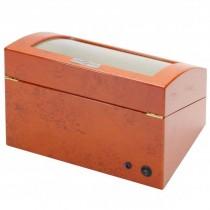 Quad Watch Winder & Watch Box in Burl Wood w/ Display Window