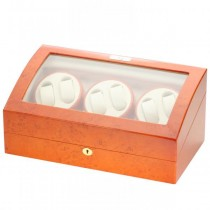 Six Watch Winder & Watch Storage in Burl Wood