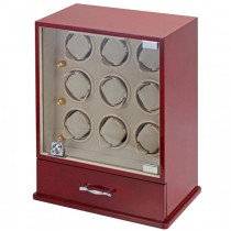 9 Watch Winder & Watch Case in Cherry Wood w/ Glass Door