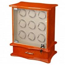 9 Watch Winder & Watch Case in Burl Wood w/ Glass Door