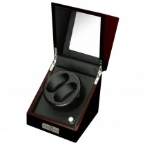 Ebony Wood Finish & Black Leather Double Watch Winder w/ Glass Top