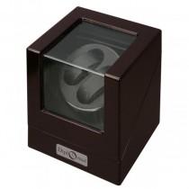 Ebony Wood Finish & Black Leather Double Watch Winder w/ Glass Top