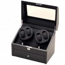 Black Finish Wood Quad Watch Winder & Watch Storage Box
