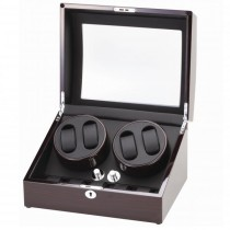 Ebony Finish Wood Quad Watch Winder & Watch Storage Box