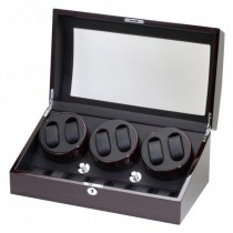 Ebony Finish Wood Six Watch Winder & Watch Storage Case